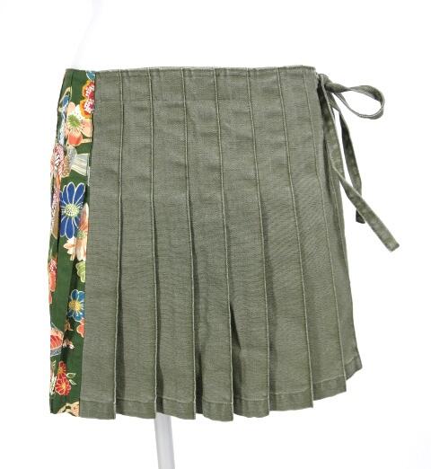 gouk 和柄切替プリーツ巻きスカート
