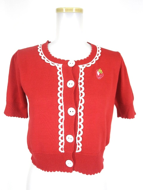 Shirley Temple いちご刺繍入り半袖ニットカーディガン