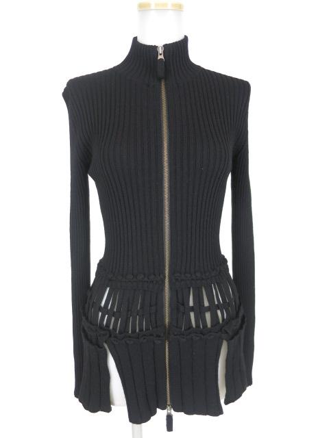 Jean Paul GAULTIER FEMME 裾編みこみジップアップリブニットブルゾン