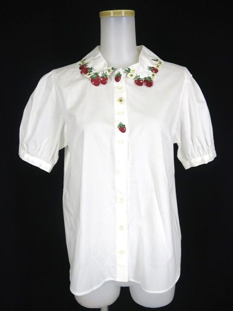 Jane Marple ストロベリーフラワー衿半袖ブラウス