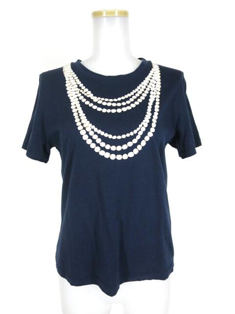 Jane Marple Dans le Salon パールネックレスプリントTシャツ