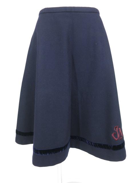 Jane Marple 別珍ライン入りロゴ刺繍ウールスカート