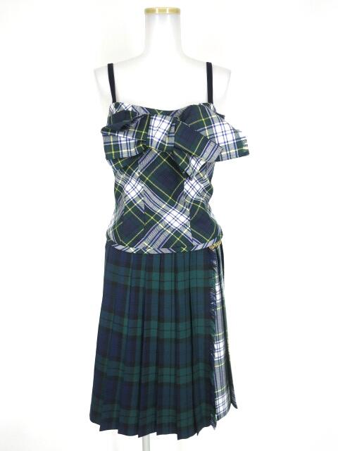 Jane Marple タータンチェックビスチェ&巻きスカート セットアップ