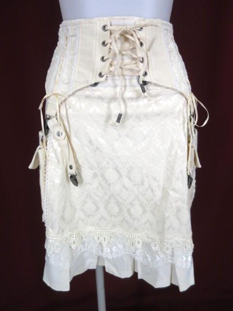 OZZ ONESTE ガーター風ポーチ付きジャガードスカート