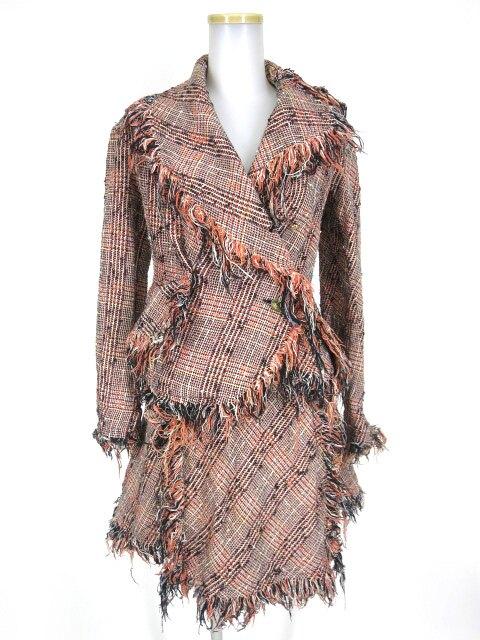 Vivienne Westwood チェック柄ツイードフリンジジャケット&スカート セットアップ
