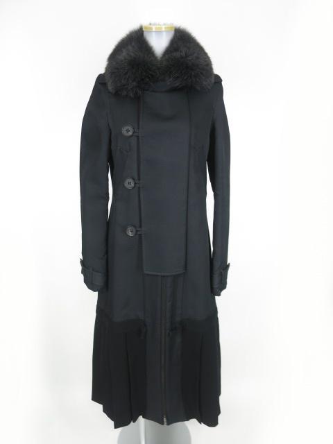 Jean Paul GAULTIER フォックスファー付き裾プリーツロングコート