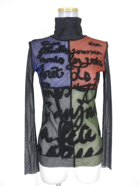 Jean Paul GAULTIER FEMME 英字刺繍入りパワーネットタートルネック長袖カットソー