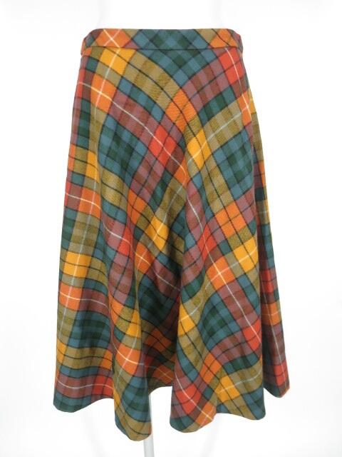 Jane Marple Dans le Salon チェック柄ウールロングスカート