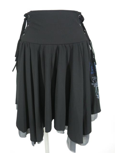 OZZ ONESTE 和柄プリント&刺繍入りスカート