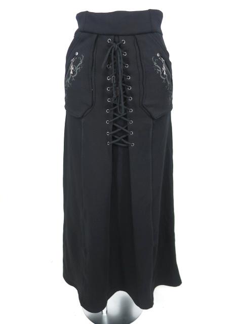 Ozz Croce 編み上げ付きスウェットロングスカート