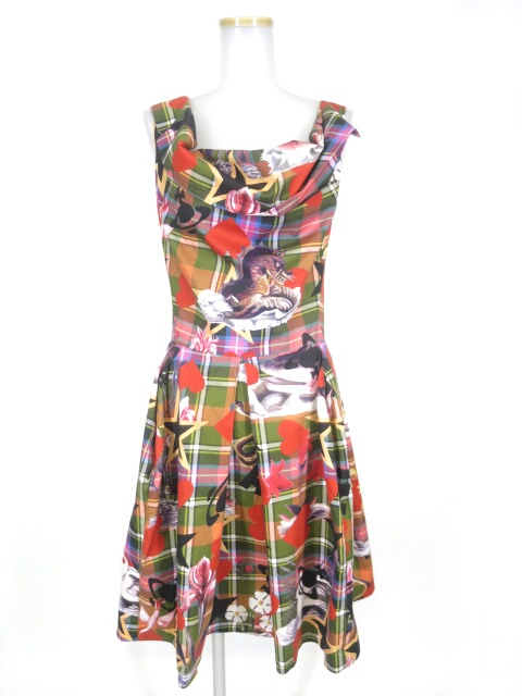 Vivienne Westwood ANGLOMANIA シーモンスター柄タータンチェックドレス
