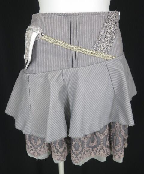 OZZ ANGELO ポケット付きジャガードストライプスカート