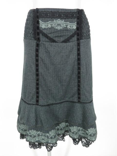 OZZ ANGELO 裾刺繍入りヘリンボーンストライプ2wayスカート