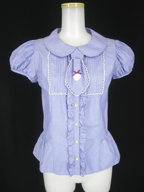 Emily Temple cute レジメンタルストライプ柄ネクタイ付き半袖ブラウス
