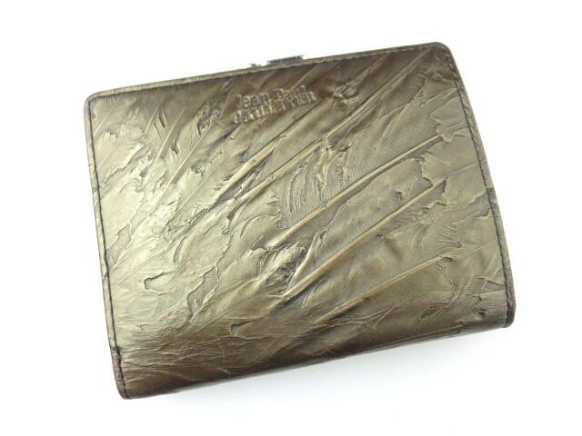 Jean Paul GAULTIER フェザー型押しがま口折り財布