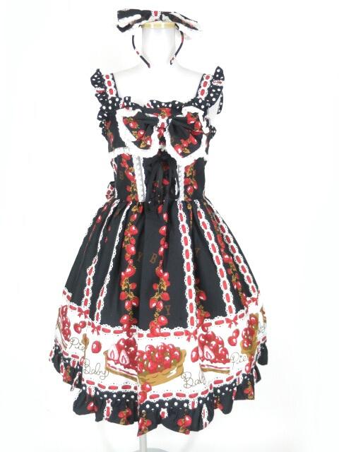 BABY, THE STARS SHINE BRIGHT いちごタルト柄ジャンパースカート&カチューシャセット