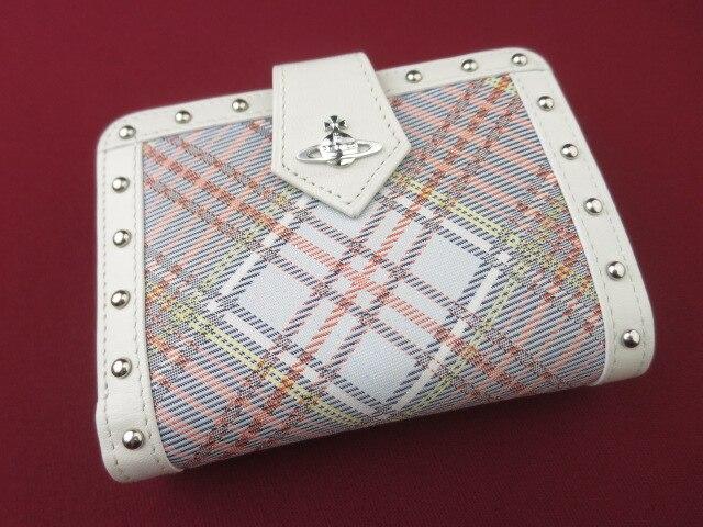 Vivienne Westwood チェック柄がま口折り財布