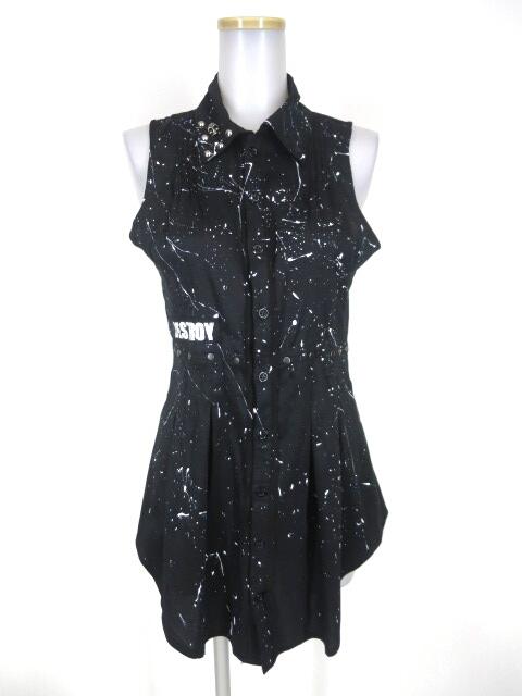 SEX POT ペンキ柄ノースリーブロングシャツ