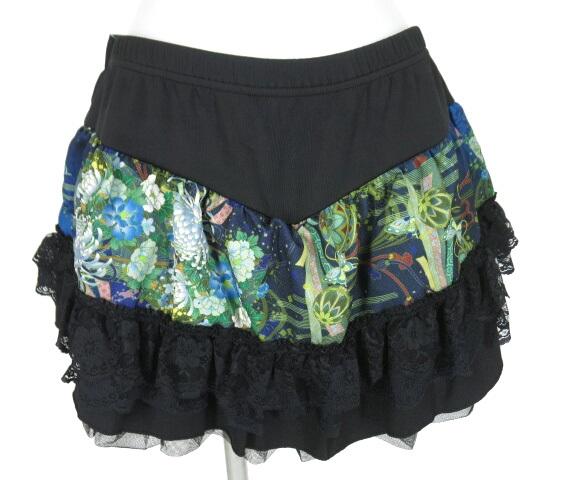 Qutie Frash コルセット風編み上げ付き和柄ミニスカート