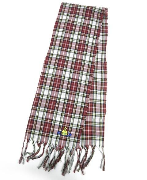 Vivienne Westwood オーブ刺繍入りタータンチェック柄ストール