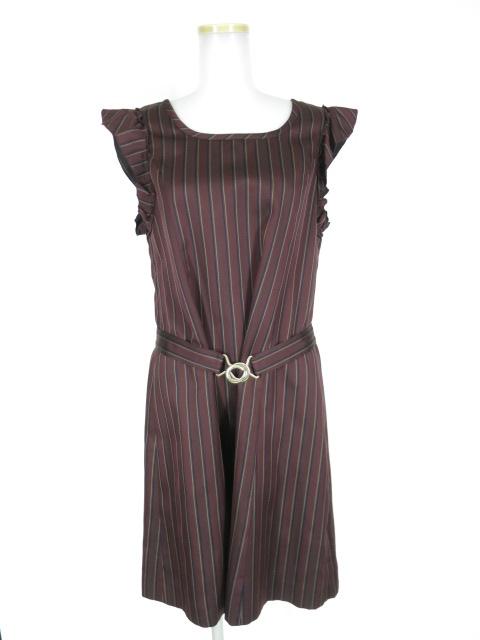 Jane Marple レジメンタルストライプのベルテッドドレス