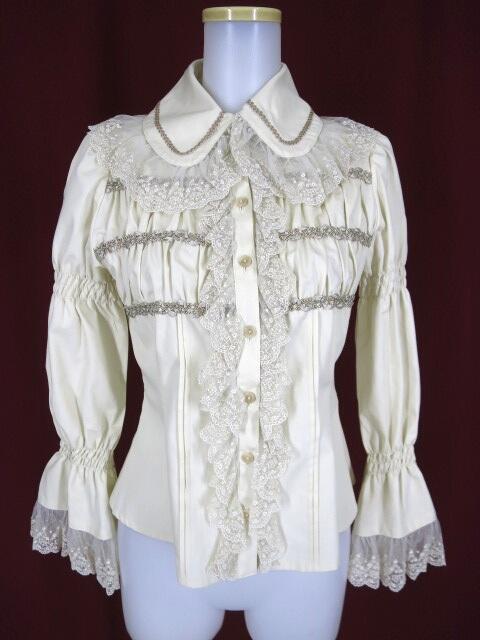 Victorian maiden レーシーカラーギャザーブラウス