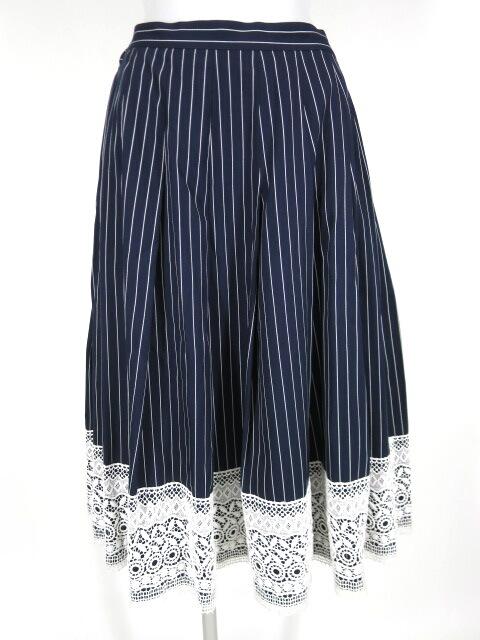 Jane Marple Dans le Salon レース付きストライプロングスカート