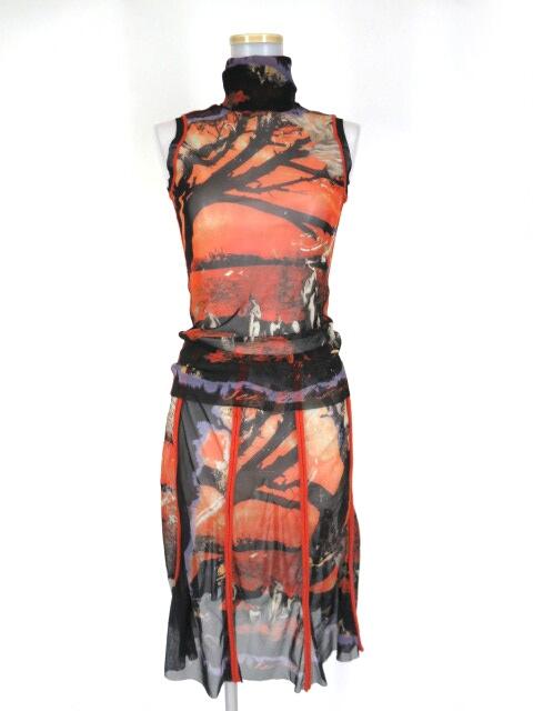 Jean Paul GAULTIER FEMME 裸婦柄パワーネットノースリーブカットソー&スカート セット
