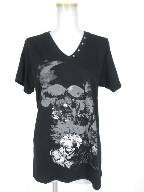 SEX POT ラメ薔薇ドクロ Vネック Tシャツ