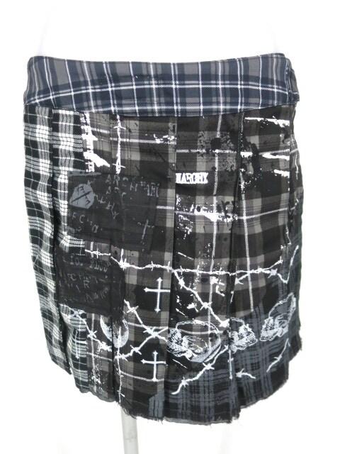 h.ANARCHY 有刺鉄線プリントチェック柄巻きスカート