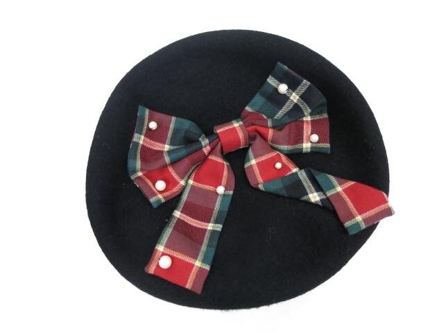 Fairy Wish タータンチェックのリボンベレー帽
