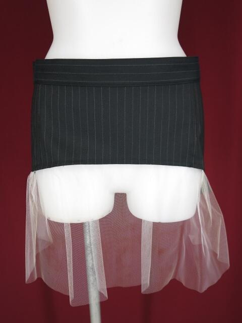 alice auaa チュール付きストライプ柄スカート