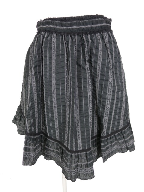 MIHO MATSUDA エプロン付きチロリアンストライプ柄スカート