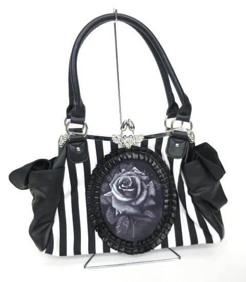 Restyle Black rose neo-victorian ローズカメオがま口バッグ