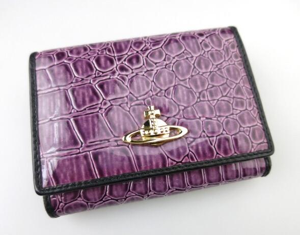 Vivienne Westwood クロコ調がま口エナメル折り財布
