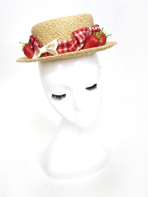 LeonCecilia いちご付き麦わらミニハット