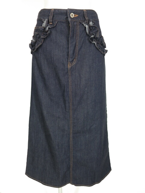 Jane Marple Dans Le Salon フリル付きデニムロングスカート