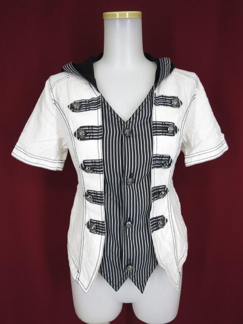 ALGONQUINS フード付きレイヤード半袖シャツ