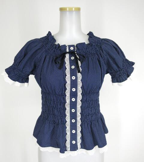 Jane Marple ドット柄シャーリング半袖ブラウス