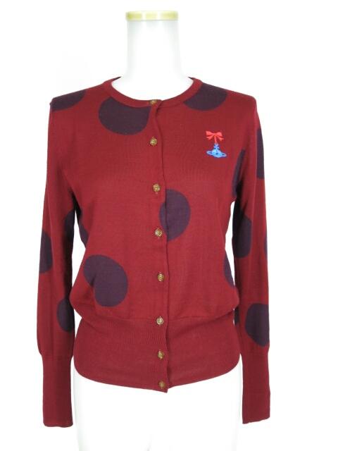Vivienne Westwood RED LABEL リボンオーブ刺繍ドット柄カーディガン