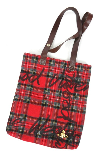 Vivienne Westwood 手書きロゴタータンチェックトートバッグ