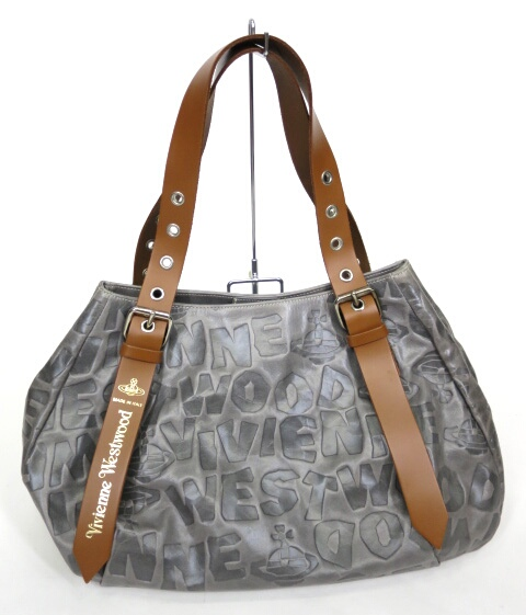 Vivienne Westwood BAM BAM ロゴ型押しレザーハンドバッグ