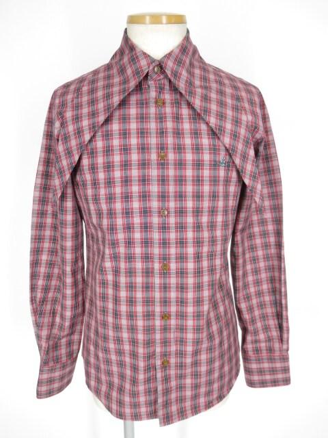 Vivienne Westwood MAN ロング衿チェック柄シャツ