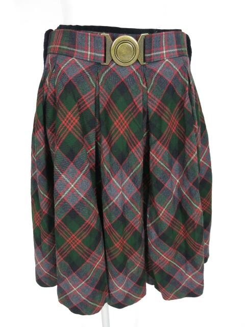 Jane Marple ベルト付きタータンチェック柄プリーツスカート