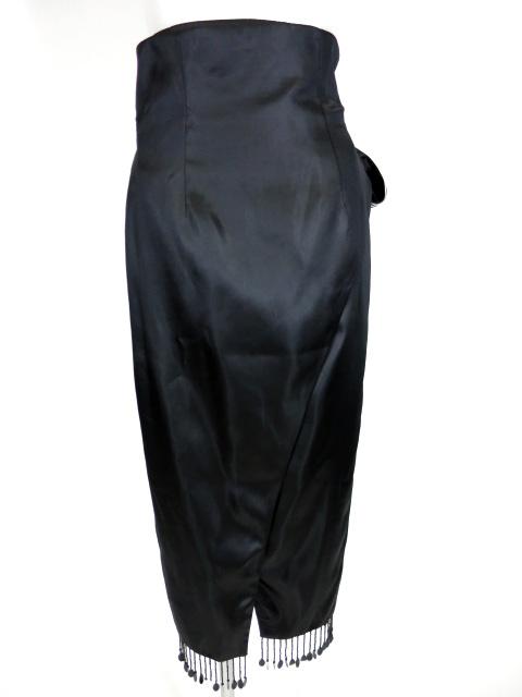 alice auaa フリンジ付き裏地ストライプサテン巻きスカート