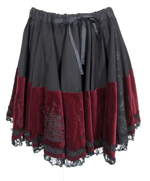 h.NAOTO FRILL お城刺繍入り別珍切替スカート