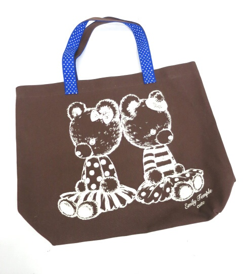 Emily Temple cute くまぬいぐるみプリントトートバッグ
