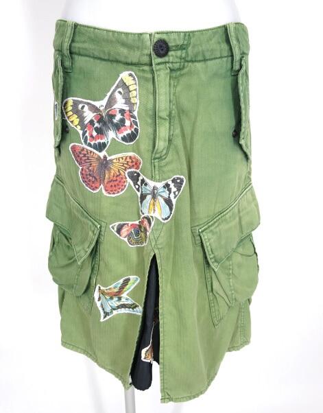 ahcahcum muchacha 蝶パッチカーゴスカート