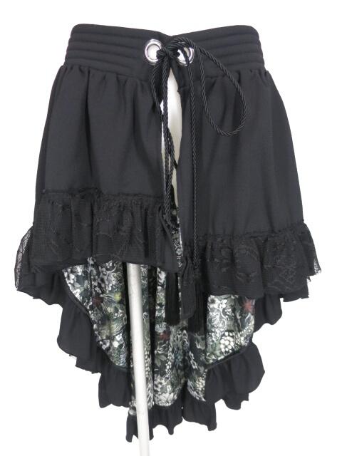 Qutie Frash 裏地和柄後ろロングラップスカート