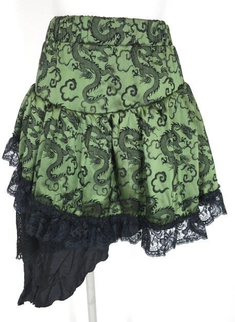 Qutie Frash ドラゴンサテンアシンメトリースカート